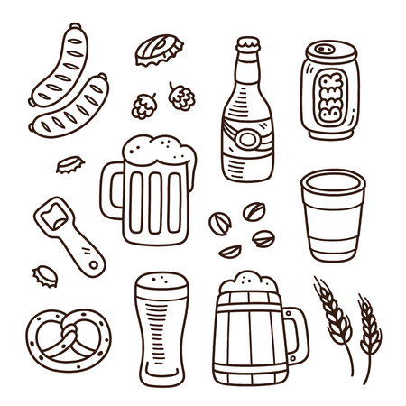 german sausage: Set of beer related doodles. Hand drawn sketches. Isolated vector illustration.