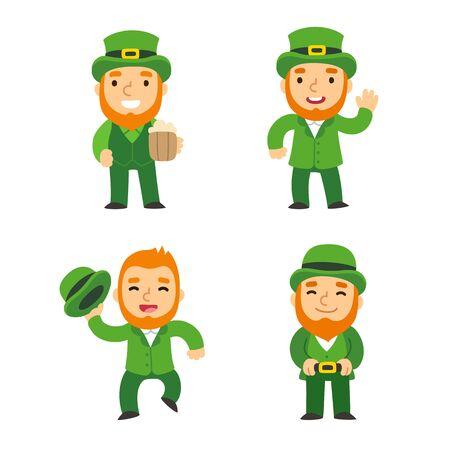 leprechauns: Saint Patricks Day leprechauns set. Cute cartoon elves in different poses. Isolated vector illustration. Illustration