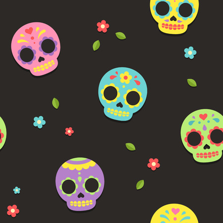 macabre: Mexican Day of the Dead sugar skull seamless pattern. Cute and bright flat vector illustration. Illustration