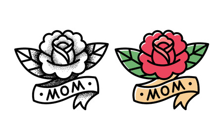 simple flower: Old school rose tattoo with ribbon and word Mom. Two variants, traditional black dot style and color ink. Isolated vector illustration.