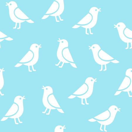 animal texture: Seamless birds pattern. Simple cartoon birds vector illustration.