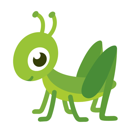 cute animals: Cute smiling grasshopper, isolated cartoon vector illustration.