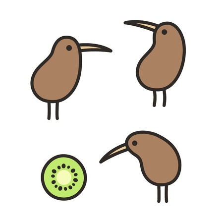 Set of doodle kiwi birds and kiwi fruit. Simple and cute hand drawn illustration. Illustration