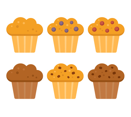 Muffin icon set. Blueberry, cranberry, chocolate with chocolate chips. Vector illustration in flat cartoon style.