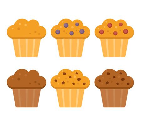 Muffin icon set. Bosbes, cranberry, chocolade met chocolade chips. Vector illustratie in flat cartoon stijl. Stock Illustratie