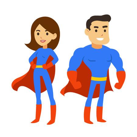 mulher: par dos desenhos animados do super-herói, homem e mulher em trajes de quadrinhos com capas. Ilustração herói vector super fofo.