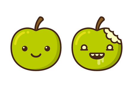green apple isolated: Cute cartoon zombie apple character. Funny vector illustration.