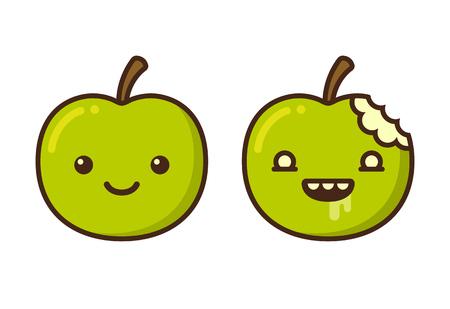 apple bite: Cute cartoon zombie apple character. Funny vector illustration.