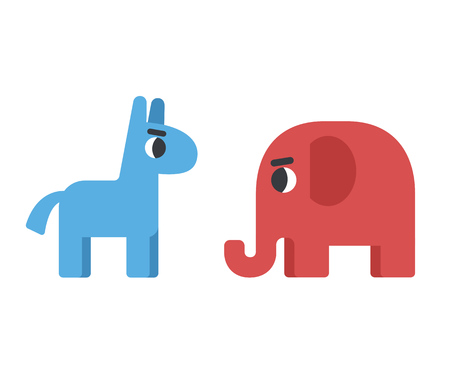 Democrat donkey facing republican elephant. Political illustration in cute cartoon flat style.
