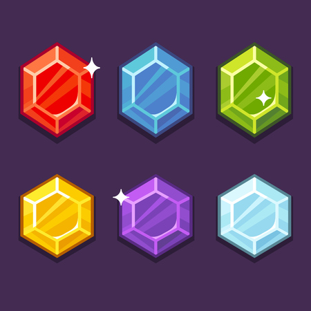 jewel: Set of bright cartoon gem icons. Modern flat game art