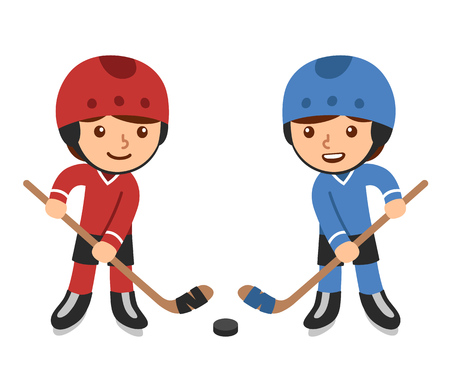 Cute cartoon boys playing hockey