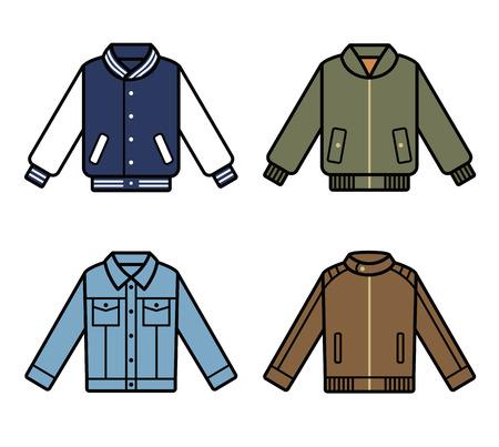 mens fashion: Jackets icons. Mens fashion illustration set.