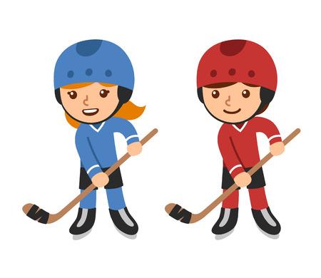 Leuke cartoon hockeyers, jongen en meisje. Geïsoleerde vector illustratie.
