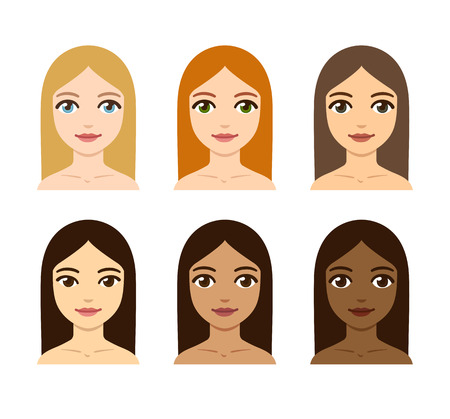 dark complexion: Young women with different skin, hair and eye colors. Race diversity illustration. Illustration