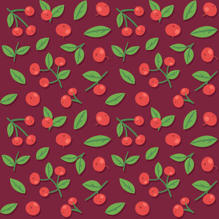 cranberries: Seamless pattern with cranberries and leaves. Vector background.