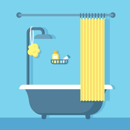 shower curtain: Bathroom shower interior in flat cartoon vector style.