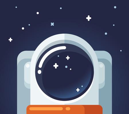 alone in the dark: Astronaut in space, flat cartoon illustration.