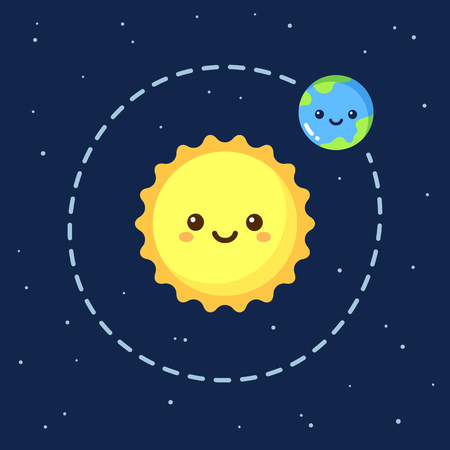 cartoon earth: Cute cartoon Earth orbiting around Sun. Modern flat space illustration.