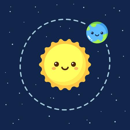 sole: Simpatico cartone animato Terra orbita attorno Sole Moderna spazio piatto illustrazione. Vettoriali
