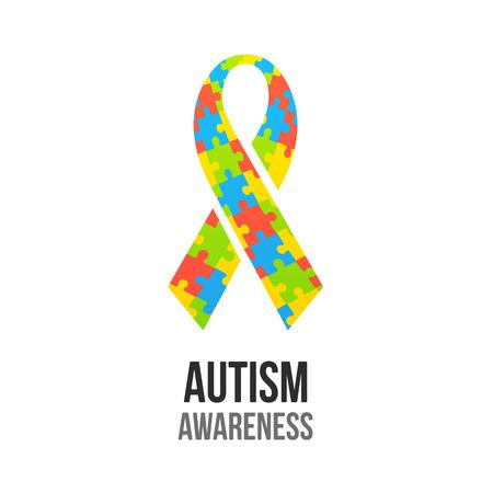 ジグソー パズルのパターンで自閉症意識のリボン。カラフルなベクトルの図。  イラスト・ベクター素材