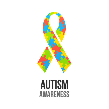 Autism awareness ribbon with jigsaw puzzle pattern. Colorful vector illustration. 向量圖像