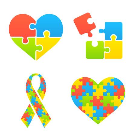 Symbole autyzm ustawiony. Serca, wstążki i puzzle. Ilustracje wektorowe
