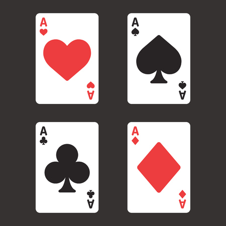 ace of spades: Card suit aces in modern simple style. Playing card vector illustration set.