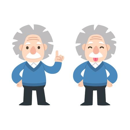 Cute cartoon Einstein pointing anf showing tongue. 일러스트