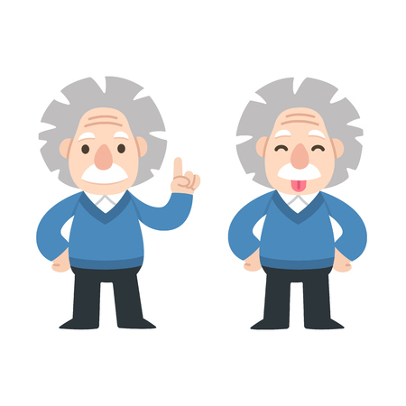 Cute cartoon Einstein pointing anf showing tongue. Vectores