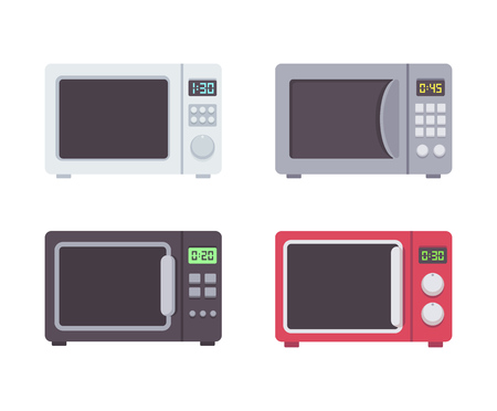 microwave ovens: Four microwave ovens in flat cartoon style.