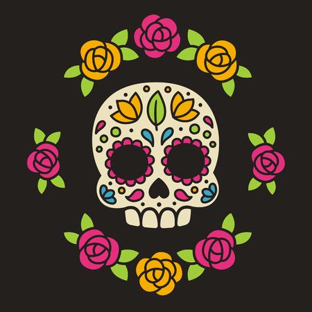花を持つメキシコ砂糖の頭蓋骨。Dia デ ロス ムエルトス、または死者の日。