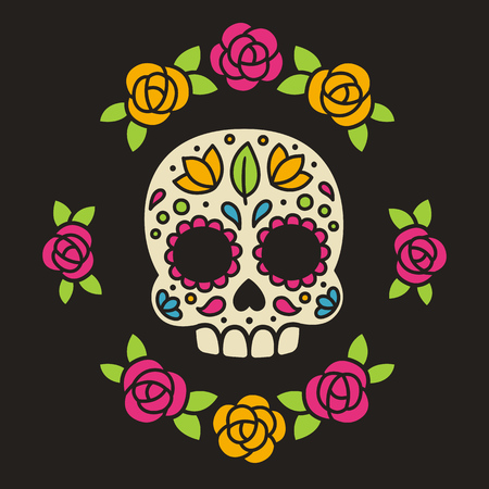 Mexican sugar skull with flowers. Dia de los Muertos, or Day of the Dead.