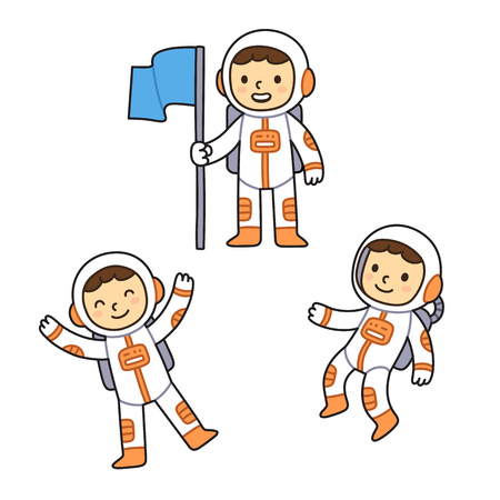 zero gravity: Cute cartoon astronaut set. Cartoon astronaut boy in different poses, floating in space and holding flag.