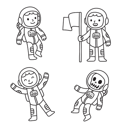 zero gravity: Cute cartoon astronaut set. Cartoon astronaut boy in different poses, floating in space, holding flag and as dead skeleton.