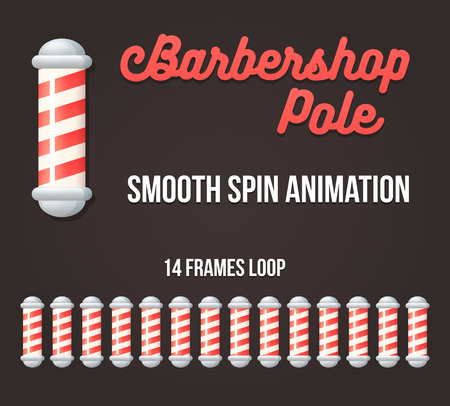 white pole: Barbershop pole spinning animation. Animated app loader or web icon illustration.
