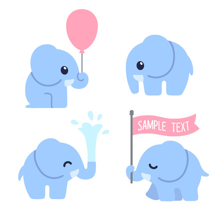 elephant: Cute cartoon baby elephant set. Adorable elephant illustrations for greeting cards and baby shower invitation design.