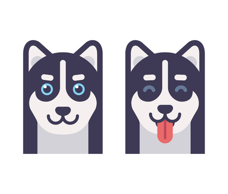 oido: Iconos de la cabeza de perro Husky, normales y con la lengua. ilustración vectorial de dibujos animados plana.