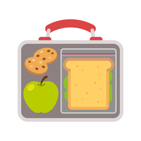 Lunchbox met schoolmaaltijd: appel, sandwich en koekjes. Flat vector illustratie. Stock Illustratie