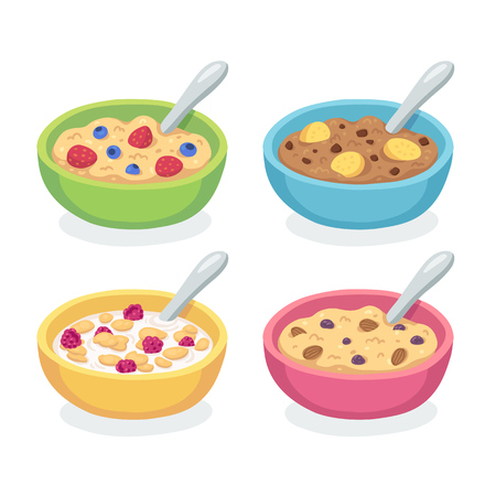 Cute breakfast bowl set. Oatmeal and cereal with berries, bananas chocolate and nuts isolated on white.