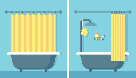 Bathroom shower interior in flat cartoon vector style with open and closed shower curtain.
