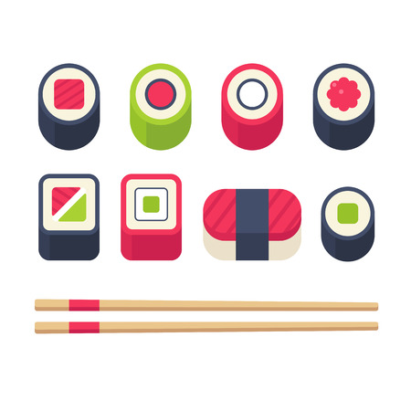 sashimi: Flat sushi icons set. Japanese food, sushi rolls and sashimi with chopsticks. Vector illustration.