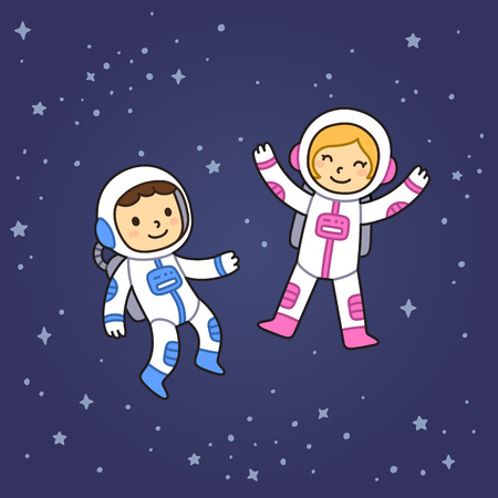 two child: Cute cartoon astronaut boy and girl floating in space. Illustration