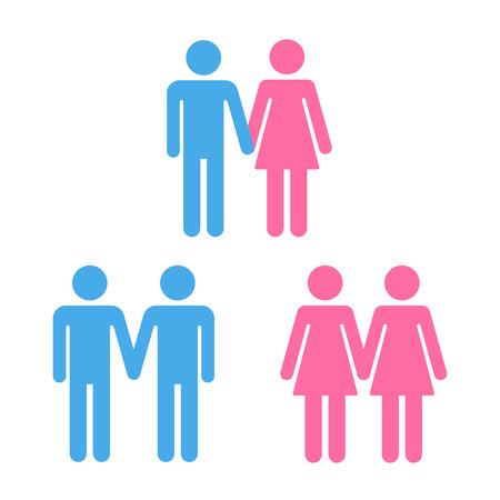 simbolo uomo donna: Insieme dei simboli delle coppie eterosessuali e omosessuali.