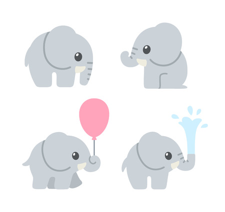 Cute cartoon baby elephant set. Adorable elephant illustrations for greeting cards and baby shower invitation design.