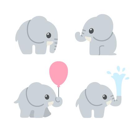 Cute cartoon słoniątka zestaw. Urocze ilustracje słoń dla kart okolicznościowych i baby shower zaproszenia projektu. Ilustracje wektorowe