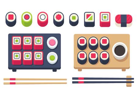 bowl: Big flat sushi set  with chopsticks and accessories. Japanese food set, sushi rolls and sashimi.