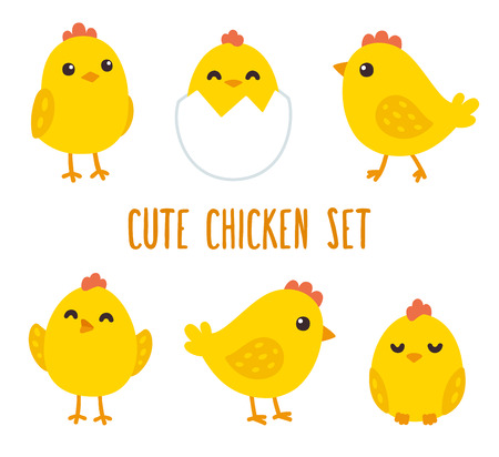 Cute cartoon chicken set. Funny yellow chickens in different poses, illustration.