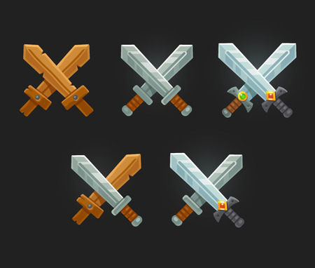game icon: Crossed swords icon set for game or web. Cartoon sword emblems.