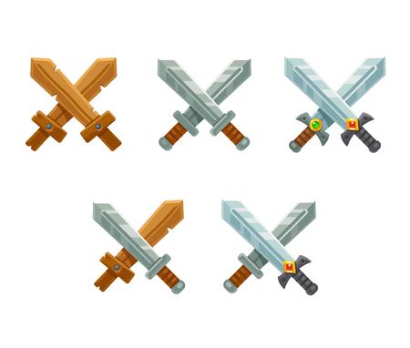 crossed: Crossed swords icon set. Cartoon isolated sword.