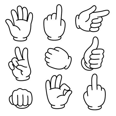 만화 손 제스처 설정합니다. 전통적인 만화 흰 장갑. 벡터 클립 아트 그림입니다. 일러스트
